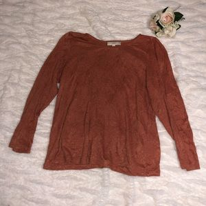 Loft xl long sleeve rusty orange shirt